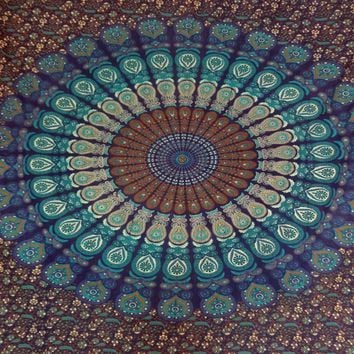 Indian Mandala Tapestry Hippie Wall Hanging Bohemian Bedspread Blanket Cloak Coverup