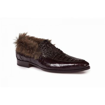 Mauri - 4615 Dark Brown Baby Croc, Hornback Crown & Kangaroo Fur Loafer