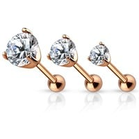 Rose Gold Plated Prong Set Gem Cartilage / Tragus Earring