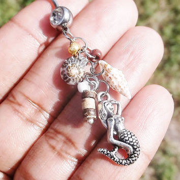 Beach, boho, dangle, belly dancers, hippie belly button ring, 14 gauge stainless steel belly navel ring, body jewelry