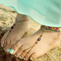 Barefoot Sandals Footless Sandals Anklet Toe Ring Foot Jewelry Boho Bohemian Gypsy Sandara Black Onyx