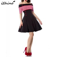 iShine 2018 Women 50s 60s Striped Button Pin Up Vintage Dress Vestidos Retro Off Shoulder Evening Party Rockabilly Swing Dresses