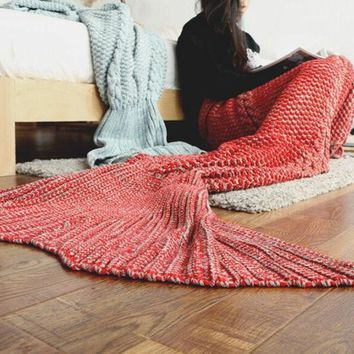 New Knitted Sofa Bedding Mermaid Tail Blanket Home Winter Spring Warm +Christmas Gift -Necklace
