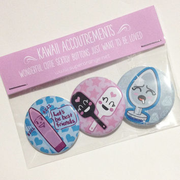 Kawaii cute adult toy button set of 3 - pastel goth kei soft grunge