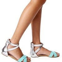 Mint/Silver Zip Up Colorblock Sandals