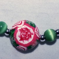 Spring Flower Bracelet Hand Made Polymer Clay Glass Cats Eye and Pearl