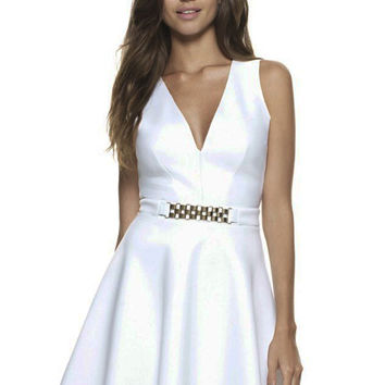 White Sleeveless Deep V- Neckline Skater Dress With Gold Chain Trim