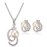 Pearl Crystal Leaf Shaped Necklace Earrings Jewelry Set