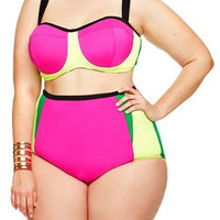 Spaghetti Strap High-Waisted Plus Size Bikini Set