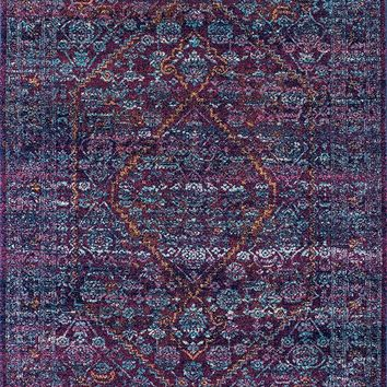 20030 Purple Distressed Persian Medallion Oriental Area Rugs