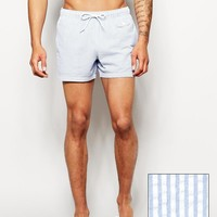 ASOS Swim Short In Short Length With Seersucker Stripe
