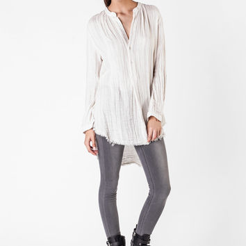 Raquel Allegra  - Natural Striped Henley Shirt