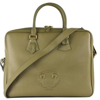 Roberto Cavalli Mens Green Olive Winged Logo Leather Briefcase Bag