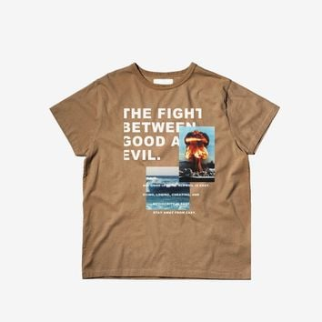 Fight Between Good/Evil Graphic Tee in Camel