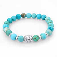 2015 New Natural Stone beads Buddha Bracelets For Women and Men , Silver Buddha, Turquoise,Black Yoga bracelet,Unisex = 1933325700