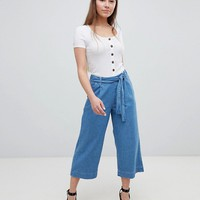 New Look Denim Tie Waist Culottes at asos.com