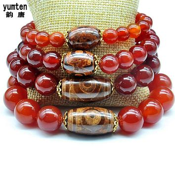 Natural Men Round Ruby Agate Beads 925 Silver Bracciali Donna Bracelets Women Charm Dzi Beads Lucky jewelry Fashion Accessories