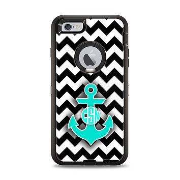 The Teal Green Monogram Anchor on Black & White Chevron Apple iPhone 6 Plus Otterbox Defender Case Skin Set