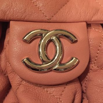 CHANEL QUILTED CHAIN AROUND SHOULDER/CROSS BODY BAG in CORAL 100% AUTHENTIC!!!