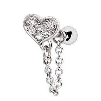 316L Stainless Steel Clear CZ Heart Chain Wrap WildKlass Cartilage Earring