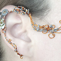 Copper and Watch Movement  Ear Wrap