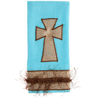 Fancy Fringe Turquoise & Burlap Cross Kitchen Towel