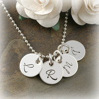 Hand Stamped Jewelry - Four Tiny Personalized discs - 11mm - Initial Necklace