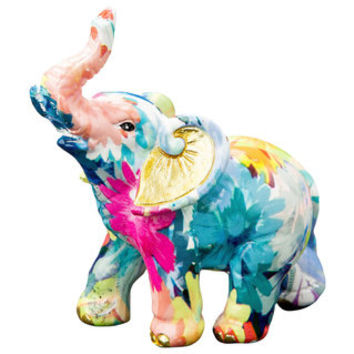 Mini Elephant Rainbow Floral Colored Figurine - 20034878 - Overstock - Great Deals on Statues & Sculptures - Mobile