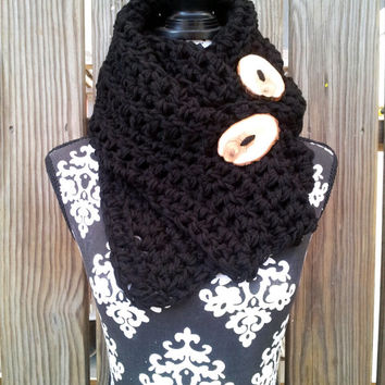Bohemian Scarf, Black, Chunky Scarf, Button Scarf, Vegan Friendly, Fall Fashion, Scarf With Button, Boho Scarf (7012AA001BT)