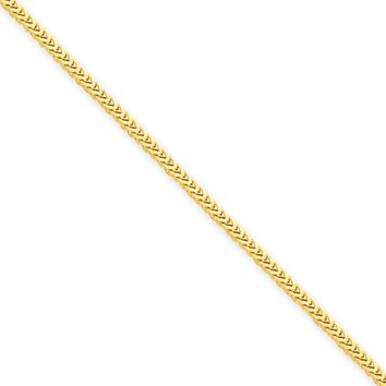 1.3mm, 14k Yellow Gold, Solid Franco Chain Necklace, 20 Inch