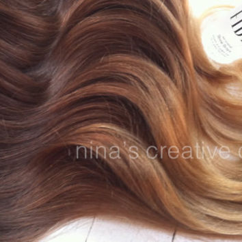 "Ombre Hair Extensions,Vanessa Hudgens, Reverse Ombre, Dark Brown Slow Fade to sand and toffee, (7) Pieces,18"", Custom Your Own"