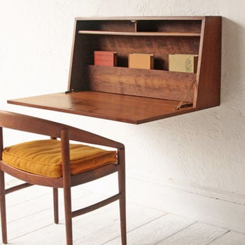 Floating Collapsible Desk Mid Century Cabinet Cupboard Wall Unit