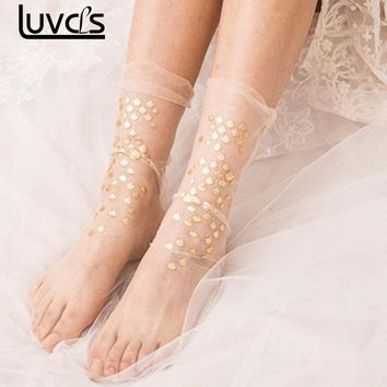 LUVCLS Female Sequins Socks Sexy Women Mermaid Sequins Elastic Ankle Socks Transparent Sweet Wedding Princess Lace Shiny Socks