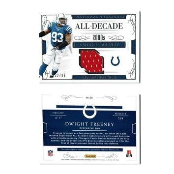 National Treasures All-Decade 2000s Dwight Freeney Gold Holo 2016 SN 32/99