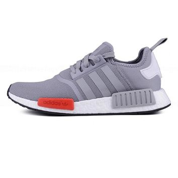 """Adidas"" NMD Stylish Unisex Classic Casual Sports Sneakers Shoes Grey Red I"