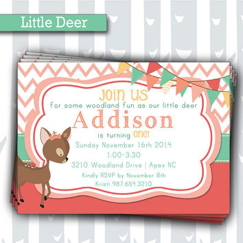 Little Deer 1st Birthday Invitation | Baby Girl Woodland Animals Invite | Baby Shower Invitation