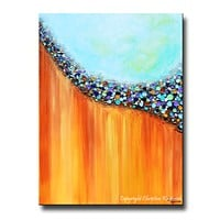 GICLEE PRINT Art Large Abstract Painting Aqua Blue Canvas Prints Teal Rust Gold Multi Colored