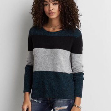 AEO Striped Crew Sweater, Blue
