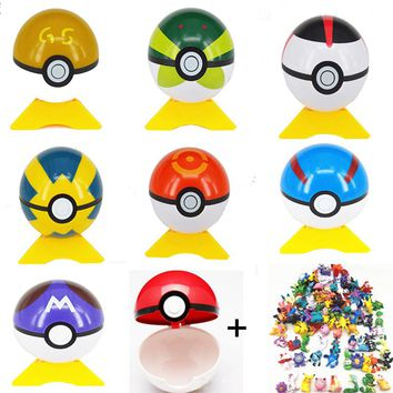 2017 High Quality Hottest Kids 1pcs Pokeball +1 pcs Free Random Pocket Monster Tiny Figures Anime Characters Toys For Children