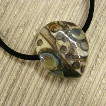 Handmade Jewelry / Gift for Him / Father's Day Gift  : Lampwork Earthy Glass Chunky Pendant in Ivory, with Silver, Amber & Blue Accents