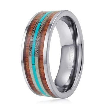 CERTIFIED 6mm/8mm Flat Band Silver Tungsten Deer Antler, Koa Wood Ring