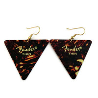 Guitar Pick Earrings, Tortoise Shell Triangle Fender
