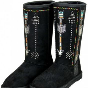 Boho Embroidered Arrow Faux Shearling Lined Boots