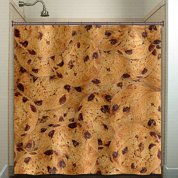 Chocolate Chip Cookies Shower Curtain bathroom decor fabric kids bath window curtains panels valance bathmat