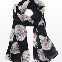 Lightweight Skull and Flower Scarf