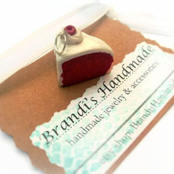 Charm ~ Red Velvet Cake with Whip Cream ~ Polymer Clay Charm ~ Necklace Charm ~ Bracelet Charm ~ Inedible Art ~ Made to Order