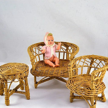Wicker Doll Furniture - Rattan Chair Table & Settee Sofa - Vintage 3 Pieces