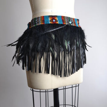 Festival Feather Top Skirt -  Festival Pixie Skirt - Festival Clothing - Native American Inspired - Hippie - Burning Man