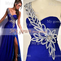 Gorgeous One Shoulder Sweetheart with Beading Chiffon Floor Length Prom Dress Evening Dress