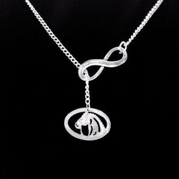 Infinity Horse Lover Cowgirl Country Western Ranch Girl Lariat Style Necklace